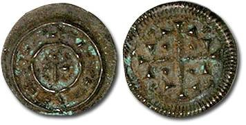 Ancient Coins - Hungary - Husz. 076 - Anonymous Denar, 12th century - crude VF, patina