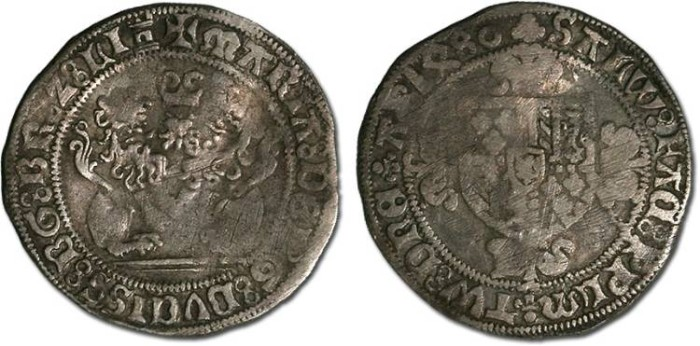Ancient Coins - Brabant - Marie of Burgundy, 1477-1482 - Double Briquet 1480 - VG