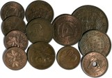 World Coins - Great Britain - Lot of 12 British colonial and former colonial coppers - F+ and better, some UNC