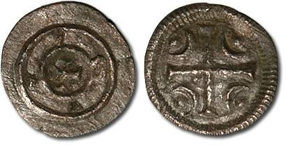 Ancient Coins - Hungary - Husz. 100 - Anonymous Denar, 12th century - crude F+