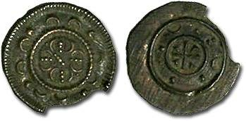 Ancient Coins - Hungary - Anonymous Denar 13th c. - VF, broken rim