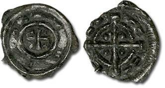 Ancient Coins - Hungary - Husz. 102 - Anonymous Denar, 12th century - crude VF, broken rim