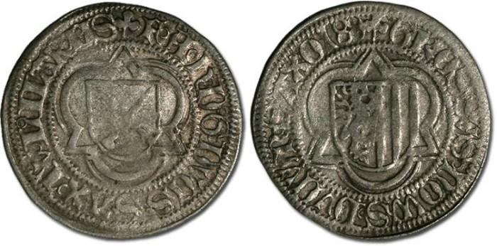 Ancient Coins - Saxony, Friedrich III, Johann, and Albrecht, 1486-1500 - Half Schwertgroschen 1488 - VF