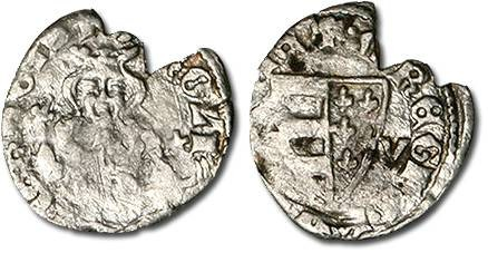 Ancient Coins - Hungary - Husz. 495 - Denar, 1307-1342 (B-V) Karl Robert, crude VG, broken rim