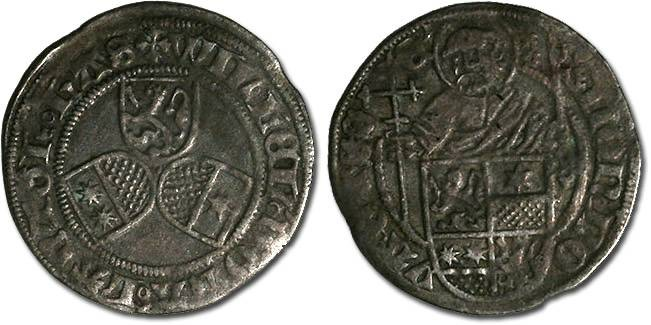 Ancient Coins - Hesse, Wilhelm I, 1483-1493 - Half Petersgroschen undated - VF, weak areas
