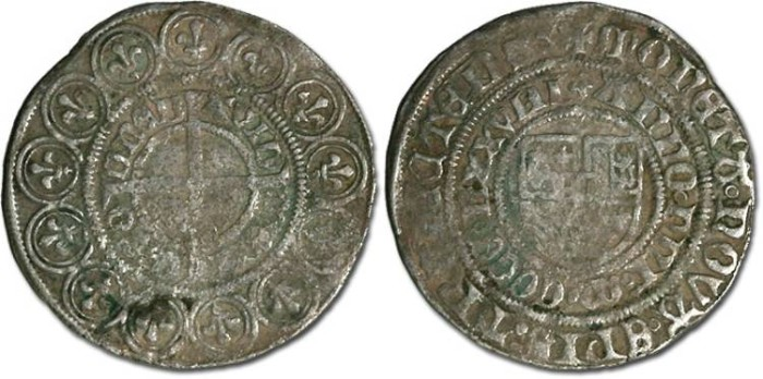 Ancient Coins - Utrecht, Bishopric, David of Burgundy, 1455-1496 - Jager 1478 - F, rough surfaces but full date