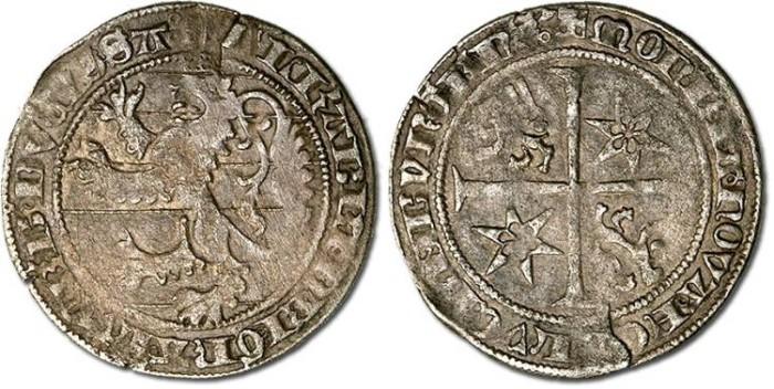 Ancient Coins - Luxembourg - Lion Groschen (Nuwe Lewegroschen), Elizabeth de Gorlitz, 1415-1419 - F