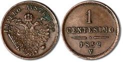 World Coins - Lombardy-Venetia - 1 Centesimo 1852V - VF+