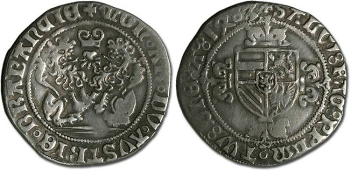 Ancient Coins - Brabant - Philip the Fair, 1482-1492 - Double Briquet 1483 - F, cleaned