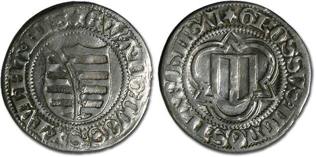 Ancient Coins - Saxony, Ernst, Albrecht, and Wilhelm III, 1465-1482 - Spitzgroschen 1475 - VF, cleaned
