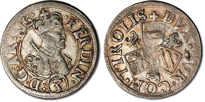Ancient Coins - Tirol - Archduke Ferdinand, 1564-1595 - 3 Kreuzer, VF