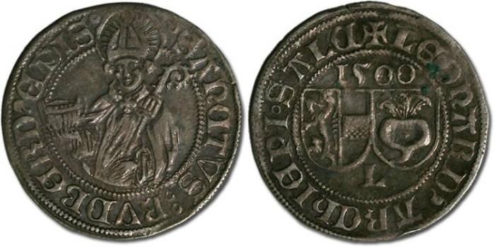Ancient Coins - Salzburg, Archbishopric, Leonhard von Keutschach, 1495-1519 - Batzen 1500 - XF