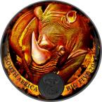 Mints Coins - BURNING RHINO Ruthenium Big Five 1 Oz Silver Coin 5 Rand South Africa 2020