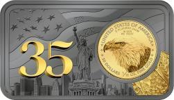 Mints Coins - GOLD EAGLE 35th Anniversary 1 Oz Silver Bar incl. Gold Coin 50$ USA 2021