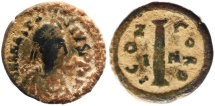 Ancient Coins - Byzantine coin of Antastasius AE decanummium
