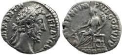 Ancient Coins - Commodus 177-192AD AR denarius - P M TR P XI IMP VII COS V P P FOR RED