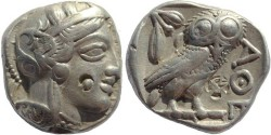 Ancient Coins - Ancient Athenian AR Silver Tetradrachm from Attica, Athens