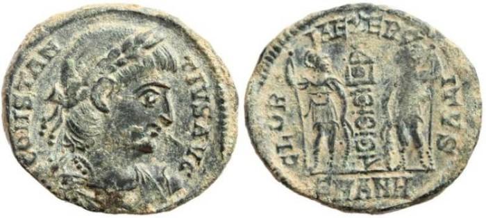 Ancient Coins - Constantius II 337-361AD GLORIA EXERCITVS - Antioch