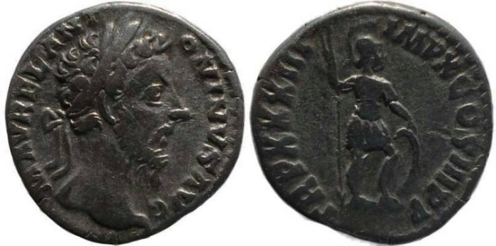 Ancient Coins - Marcus Aurelius Denarius - TR P XXXIII IMP X COS III P P - RIC 406, RSC 967.