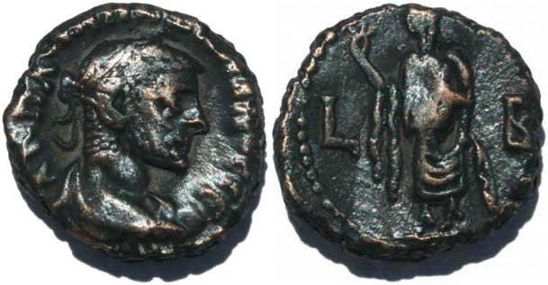 Ancient Coins - Roman Emperor Maximianus Potin Tetradrachm