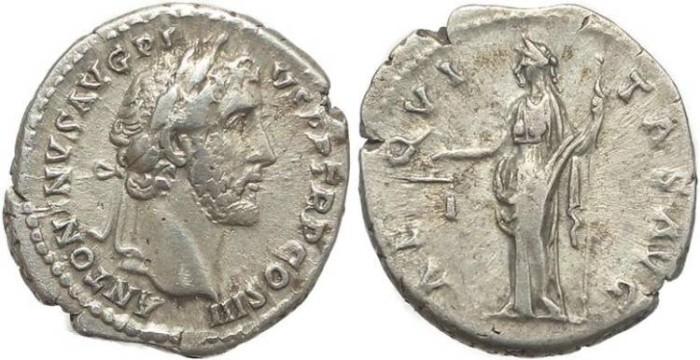 Ancient Coins - Roman coin of Antoninus Pius AR silver Denarius – AEQVITAS AVG