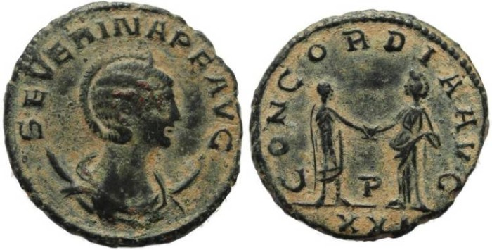 Ancient Coins - Severina Antoninianus - CONCORDIA AVG - An interesting coin