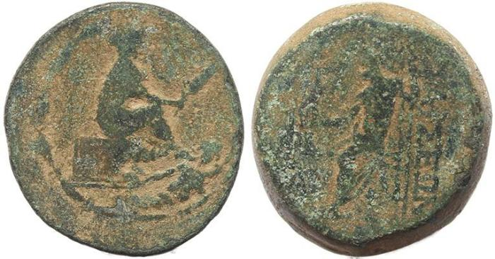 Ancient Coins - Tarsos, Cilicia with seated Tyche and Kydnos