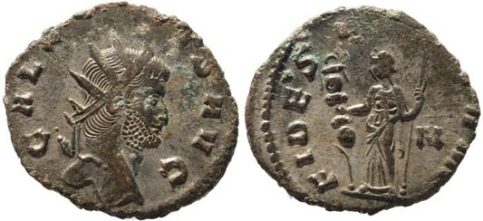 Ancient Coins - Gallienus silvered Antoninianus - FIDES MILITVM