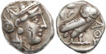 Ancient Coins - Attica Athens AR silver Tetradrachm - pentagram bankers mark - nicely toned