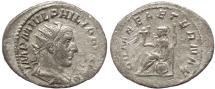 Ancient Coins - Roman coin of Philip I AR silver antoninianus - ROMAE AETERNAE
