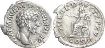Ancient Coins - Marcus Aurelius Denarius 161 AD - CONCORD AVG TR P XV, COS III