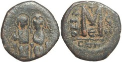 Ancient Coins - Byzantine Empire - Justin II & Sophia AE follis - Constantinople - Year 7