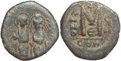 Ancient Coins - Byzantine Empire - Justin II & Sophia AE follis - Constantinople - Year 7