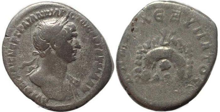 Ancient Coins - Roman Provincial coin of Trajan AR tridrachm of Caesarea, Cappadocia