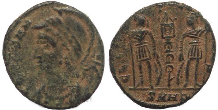 Ancient Coins - Constantinopolis Commemorative - GLORIA EXERCITVS- Nicomedia