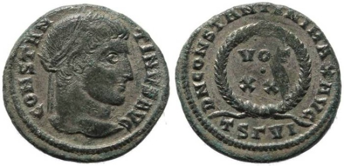 Ancient Coins - Constantine I silvered follis - DN CONSTANTINI MAX AVG - Thessalonica