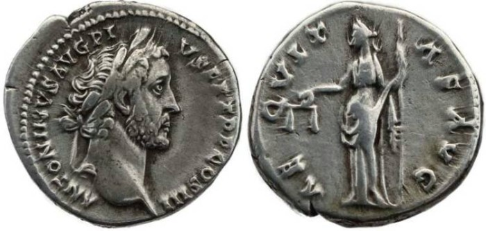 Ancient Coins - Antoninus Pius AR Denarius - AEQVITAS AVG - Rome Mint 141AD