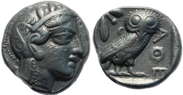Ancient Coins - Athens AR tetradrachm circa 449-430 BC