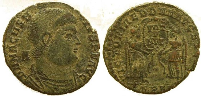 Ancient Coins - Magnentius cententionalis - VICTORIAE DD NN AVG ET CAES