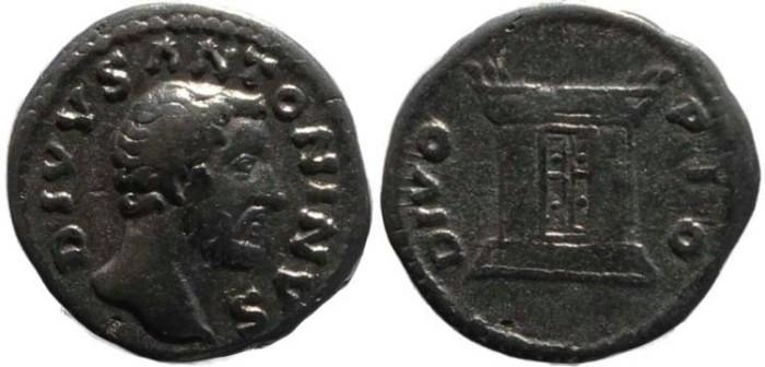 Ancient Coins - Antoninus Pius AR denarius - DIVO PIO