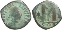 Ancient Coins - Byzantine Empire - Justinian AE follis - Constantinople