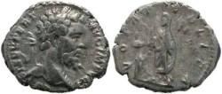 Ancient Coins - Septimius Severus 193-211AD denarius, Emperor sacrificing