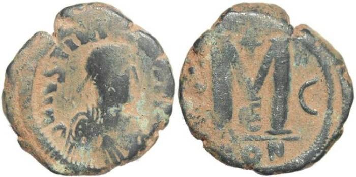 Ancient Coins - Byzantine Empire - Justinian I AE follis - Constantinople