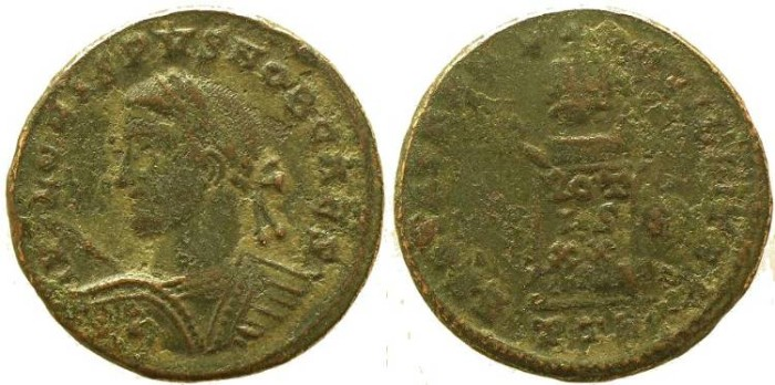 Ancient Coins - Crispus Ae follis Treveri mint