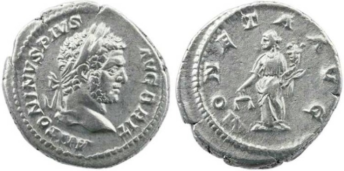 Ancient Coins - Roman Empire - Caracalla AR denarius - MONETA AVG