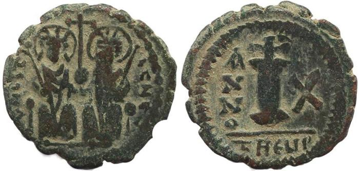 Ancient Coins - Byzantine coin of Justin II and Sophia AE Decanummium - Antioch - Year 10