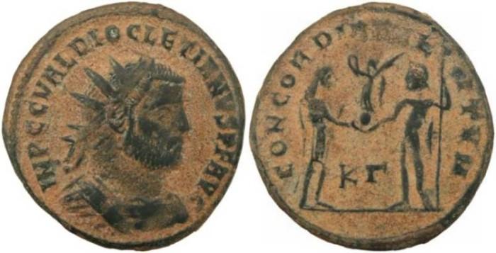 Ancient Coins - Diocletian 284-305AD CONCORDIA MILITVM - Cyzicus Mint