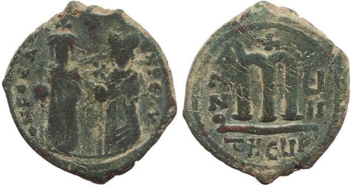 Ancient Coins - Byzantine coin of Phocas and Leontia AE Follis - Antioch - Year 7