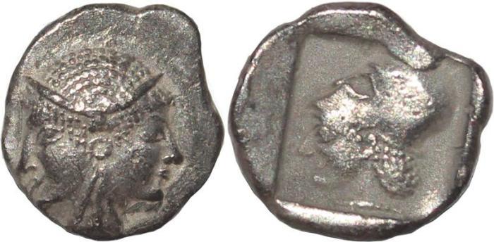 Ancient Coins - Mysia, Lampsakos - Circa 500-450 BC AR Diobol - Female janiform