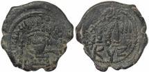 Ancient Coins - Byzantine coin of Heraclius Ae Follis - Cyzicus - Year 3